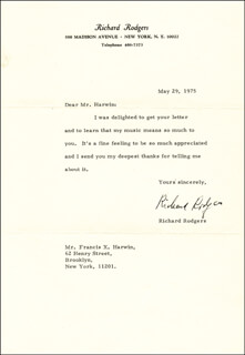 RICHARD RODGERS - TYPED LETTER SIGNED 05/29/1975