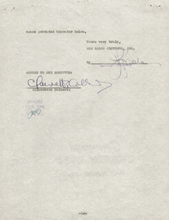 CLAUDETTE COLBERT - CONTRACT SIGNED 06/22/1942