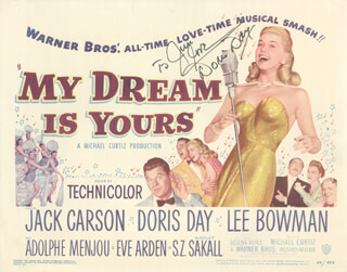 DORIS DAY - INSCRIBED LOBBY CARD SIGNED 1949