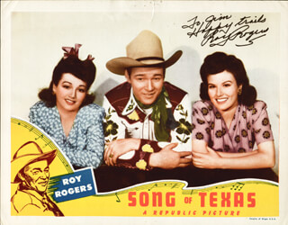 Autographs: ROY ROGERS - INSCRIBED LOBBY CARD SIGNED