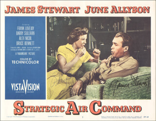 Autographs: STRATEGIC AIR COMMAND MOVIE CAST - LOBBY CARD SIGNED CO-SIGNED BY: JAMES JIMMY STEWART, JUNE ALLYSON