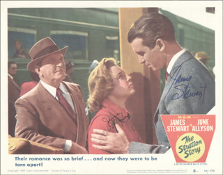 STRATTON STORY MOVIE CAST - LOBBY CARD SIGNED CO-SIGNED BY: JAMES JIMMY STEWART, JUNE ALLYSON