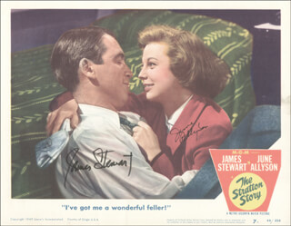 Autographs: STRATTON STORY MOVIE CAST - LOBBY CARD SIGNED CO-SIGNED BY: JAMES JIMMY STEWART, JUNE ALLYSON
