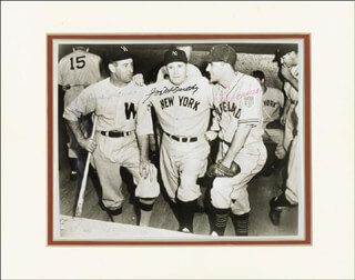 JOE MCCARTHY - AUTOGRAPHED SIGNED PHOTOGRAPH CO-SIGNED BY: LOU BOUDREAU, BUCKY HARRIS