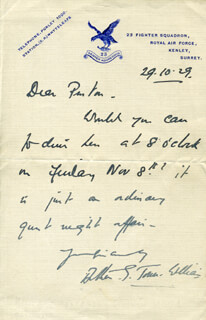 ARTHUR G. JONES-WILLIAMS - AUTOGRAPH LETTER SIGNED 10/29/1929