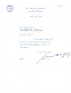 SAMUEL W. YORTY - TYPED LETTER SIGNED 04/12/1963