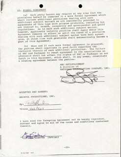 FRANK SINATRA - DOCUMENT SIGNED 07/07/1981