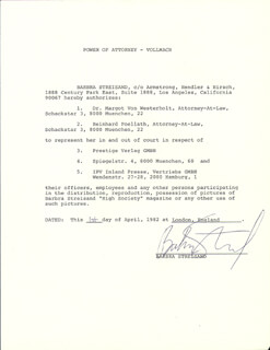 BARBRA STREISAND - DOCUMENT SIGNED 04/01/1982