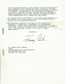 Autographs: PRESIDENT JAMES E. JIMMY CARTER - TYPED LETTER SIGNED 09/29/1987