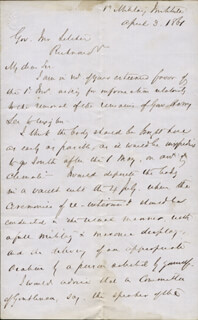 Autographs: GENERAL FRANCIS HENNEY SMITH - AUTOGRAPH LETTER FRAGMENT UNSIGNED 04/03/1861