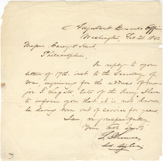 MAJOR GENERAL LORENZO THOMAS - MANUSCRIPT LETTER SIGNED 02/21/1842