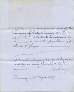PRESIDENT RUTHERFORD B. HAYES - PRESIDENTIAL WARRANT SIGNED 08/18/1879