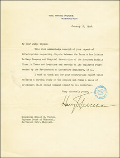PRESIDENT HARRY S TRUMAN - TYPED LETTER SIGNED 01/17/1946