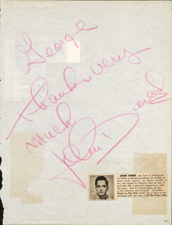 JOHN DEREK - AUTOGRAPH NOTE SIGNED CIRCA 09/1955CO-SIGNED BY: WAYNE SHANKLIN, ART MOONEY