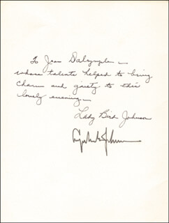 Autographs: FIRST LADY LADY BIRD JOHNSON - INSCRIBED PROGRAM SIGNED CIRCA 1966