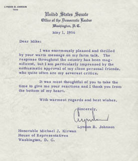 PRESIDENT LYNDON B. JOHNSON - TYPED LETTER SIGNED 05/01/1956