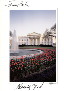 Autographs: PRESIDENT JAMES E. JIMMY CARTER - GREETING CARD SIGNED CO-SIGNED BY: PRESIDENT GERALD R. FORD