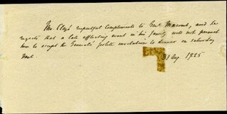 HENRY CLAY - THIRD PERSON AUTOGRAPH LETTER 08/31/1825