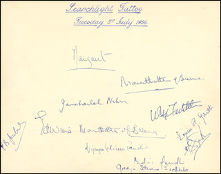PRINCESS MARGARET (GREAT BRITAIN) - AUTOGRAPH CIRCA 1956 CO-SIGNED BY: ADMIRAL WILLIAM M. FECHTELER, VIJAYA LAKSHMI PANDIT, AIR CHIEF MARSHAL PHILIP JOUBERT, PRIME MINISTER JAWAHARLAL NEHRU (INDIA), PRIME MINISTER INDIRA GANDHI (INDIA), ADMIRAL LOUIS MOUNTBATTEN, GOLDYE STEVENS FECHTELER, EDWINA MOUNTBATTEN