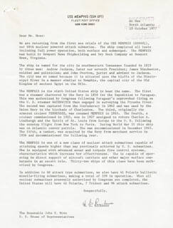 ADMIRAL HYMAN G. RICKOVER - TYPED LETTER SIGNED 10/10/1977