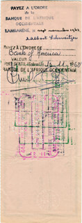 Autographs: ALBERT SCHWEITZER - CHECK ENDORSED 10/10/1962