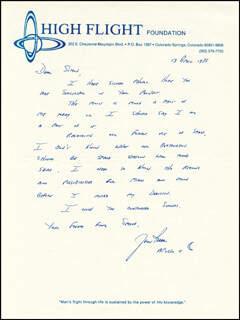 Autographs: COLONEL JAMES B. JIM IRWIN - AUTOGRAPH LETTER SIGNED 04/13/1985