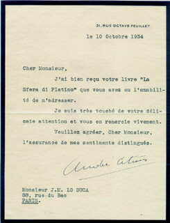 Autographs: ANDRE-GUSTAVE CITROEN - TYPED LETTER SIGNED 10/10/1934