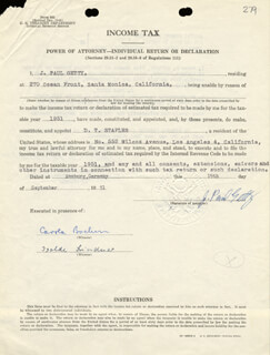 J. PAUL GETTY - DOCUMENT SIGNED 09/19/1951