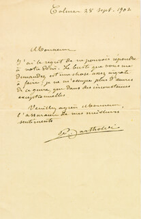 FREDERIC A. BARTHOLDI - AUTOGRAPH LETTER SIGNED 09/28/1902