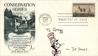 THEODOR DR. SEUSS GEISEL - INSCRIBED ORIGINAL ART SIGNED