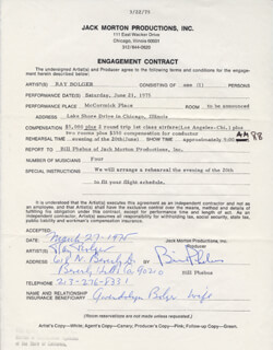 RAY BOLGER - DOCUMENT DOUBLE SIGNED 03/27/1975