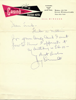 JIMMY SCHNOZZOLA DURANTE - AUTOGRAPH LETTER SIGNED