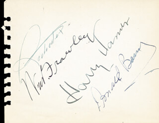 Autographs: WILLIAM FRAWLEY - SIGNATURE(S) CO-SIGNED BY: DON RED BARRY, DICK POWELL, HARRY JAMES, EDDIE ROCHESTER ANDERSON, DAVID BRUCE