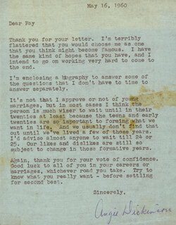 ANGIE DICKINSON - TYPED LETTER SIGNED 05/16/1960