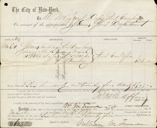 WILLIAM M. BOSS TWEED - DOCUMENT DOUBLE SIGNED 03/31/1866