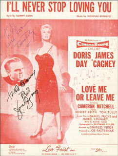 Autographs: LOVE ME OR LEAVE ME MOVIE CAST - INSCRIBED SHEET MUSIC SIGNED CIRCA 1955 CO-SIGNED BY: DORIS DAY, JAMES CAGNEY