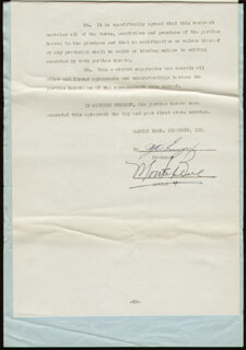 Autographs: MONTE BLUE - CONTRACT SIGNED 03/20/1944