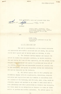 Autographs: MONTE BLUE - CONTRACT SIGNED 09/29/1942