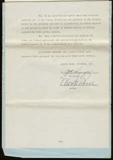 Autographs: MONTE BLUE - CONTRACT SIGNED 04/14/1943