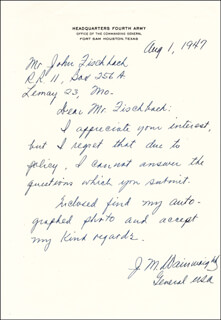 GENERAL JONATHAN M. WAINWRIGHT IV - AUTOGRAPH LETTER SIGNED 8/1