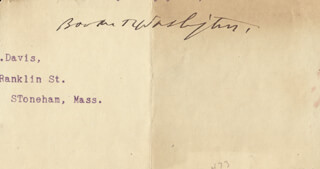 BOOKER T. WASHINGTON - TYPED LETTER FRAGMENT SIGNED