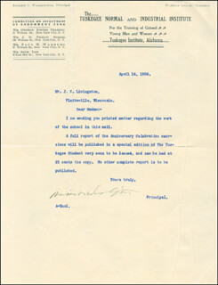 BOOKER T. WASHINGTON - TYPED LETTER SIGNED 04/14/1906