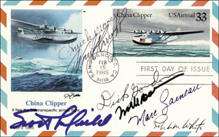 Autographs: COLONEL FRANK BORMAN - FIRST DAY COVER SIGNED CO-SIGNED BY: MARC GARNEAU, SCOTT CROSSFIELD, MAJOR GENERAL ROBERT MICHAEL WHITE, BRIGADIER GENERAL CHUCK YEAGER, CAPTAIN RICHARD F. DICK GORDON JR.
