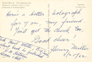 HENRY MILLER - AUTOGRAPH NOTE SIGNED 11/25/1962