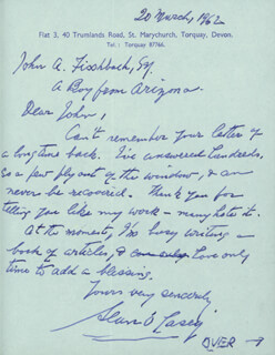 SEAN O'CASEY - AUTOGRAPH LETTER SIGNED 03/20/1962