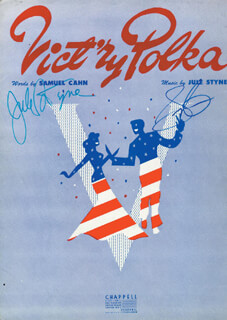 JULE STYNE - SHEET MUSIC SIGNED CIRCA 1943 CO-SIGNED BY: SAMMY CAHN