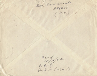 PABLO CASALS - ENVELOPE SIGNED CIRCA 1952