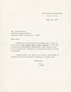 Autographs: VICE PRESIDENT SPIRO T. AGNEW - TYPED LETTER SIGNED 05/28/1971