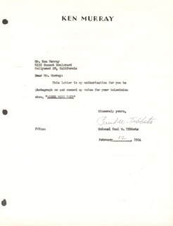 Autographs: ENOLA GAY CREW (PAUL W. TIBBETS) - DOCUMENT SIGNED 02/12/1954