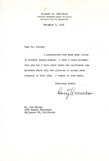 PRESIDENT HARRY S TRUMAN - TYPED LETTER SIGNED 11/07/1953
